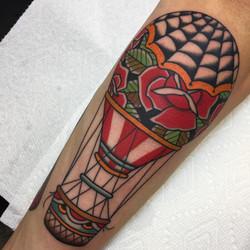 Floral Hot Air Balloon Tattoo