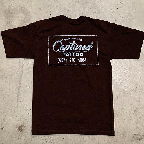 """Brown & Blue"" Captured distressed box logo T-shirt"