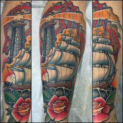 Clipper Ship and Lighthouse Tattoo