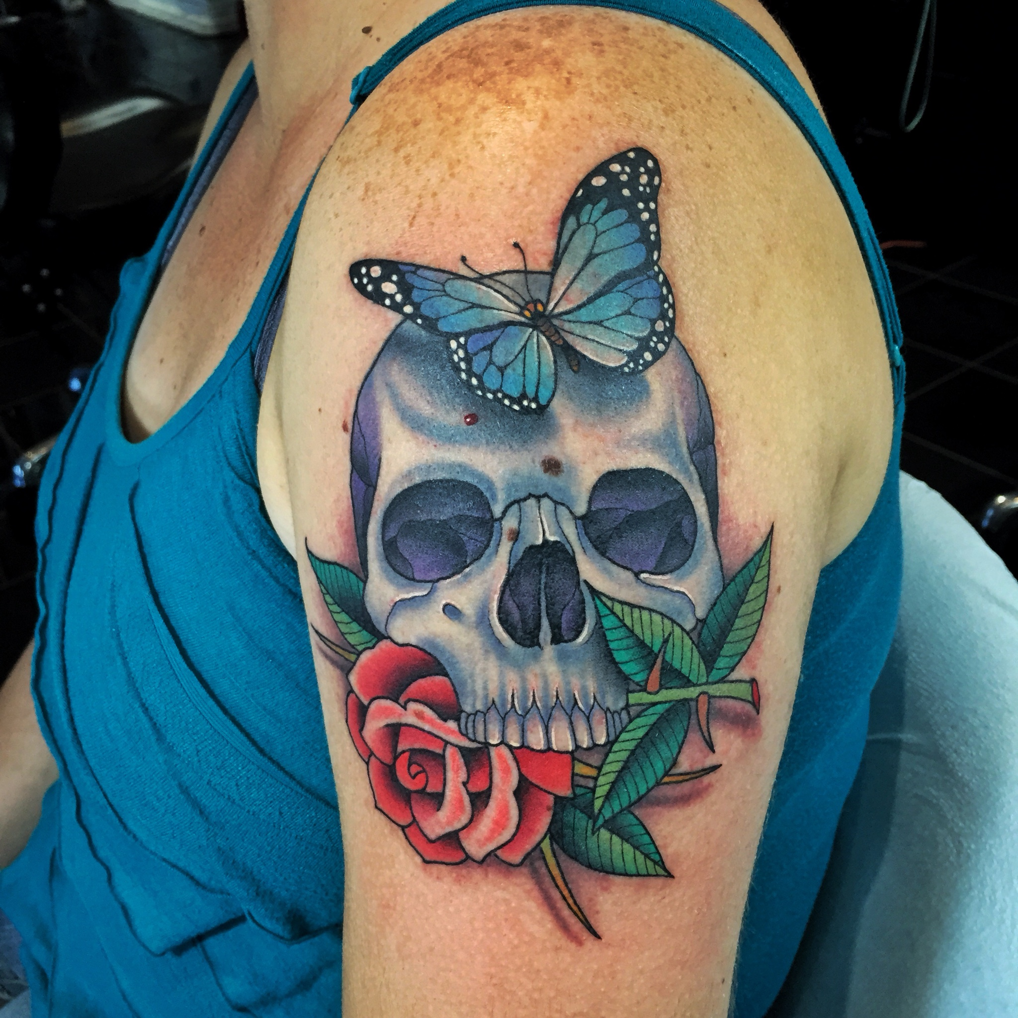 Skull + Butterfly + Rose Tattoo