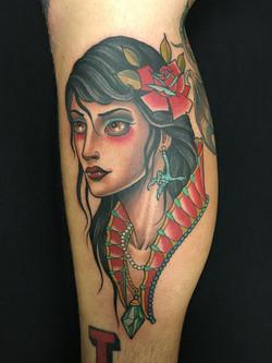 Girl Head Tattoo by Chris Astrologo