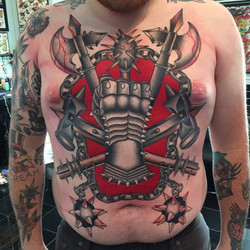 Weapons and Armor Chest Piece Tattoo
