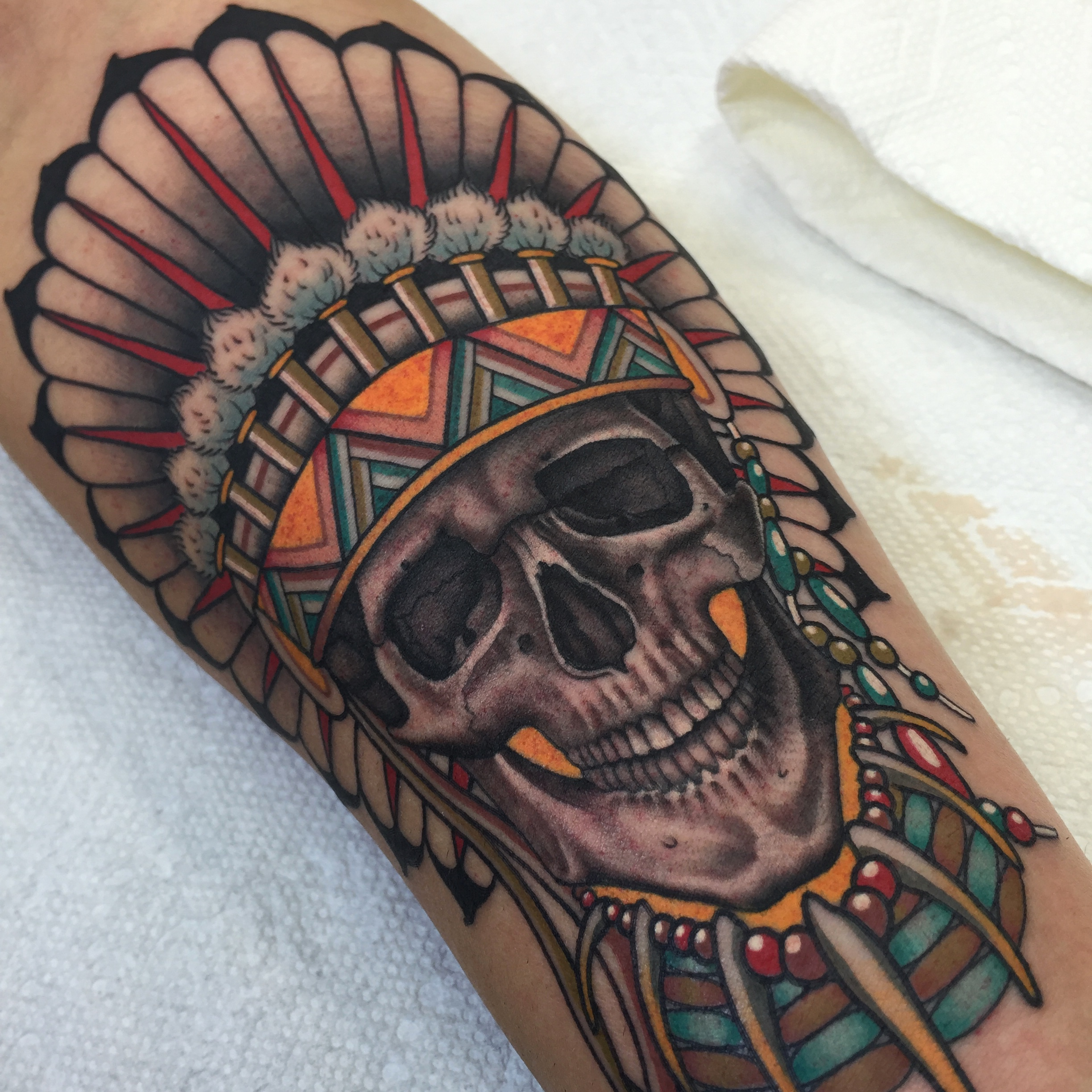 Skull & Chief's Headdress Tattoo