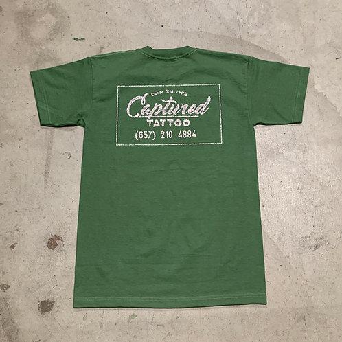 """Green & Pink"" Captured distressed box logo T-shirt"
