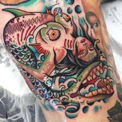 Bend Back Mermaid Girl Tattoo