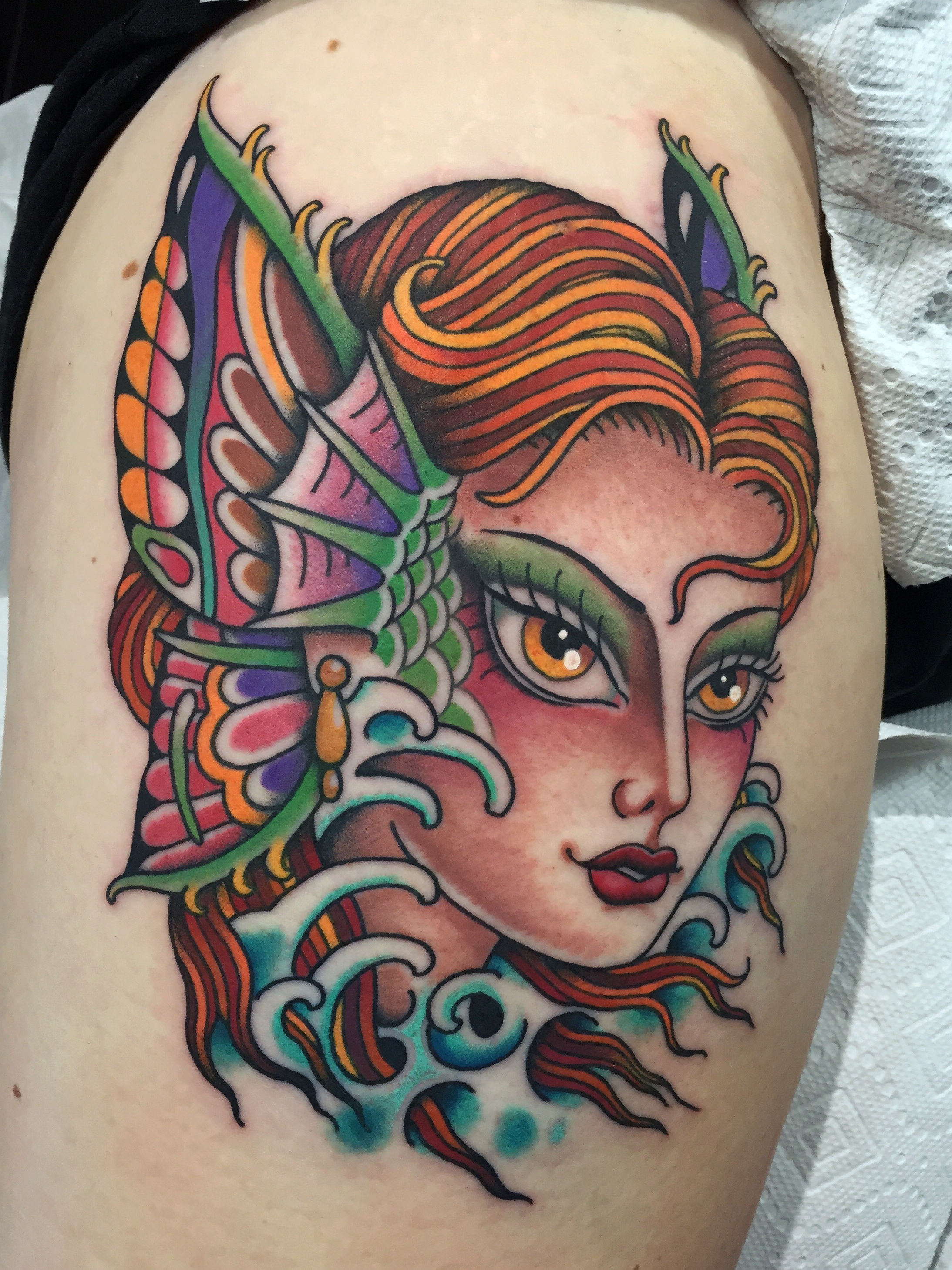 Butterfly Mermaid Girl Head Tattoo