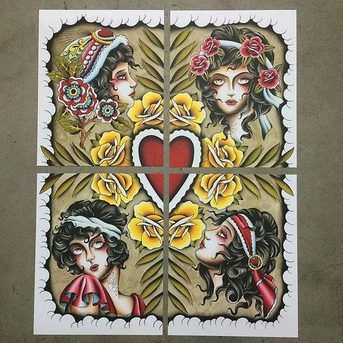 Girl Heads X 4 - Shaun Topper