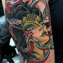 Medusa Girl Head Tattoo