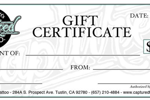 Captured Tattoo Gift Certificate
