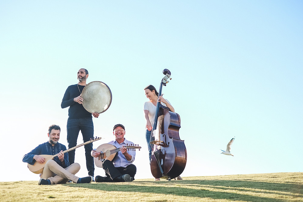 Four-piece ensemble with double bass and Persian instruments on the grass with blue sky and a seagull flying by!