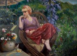 In Her Garden 28 x 38