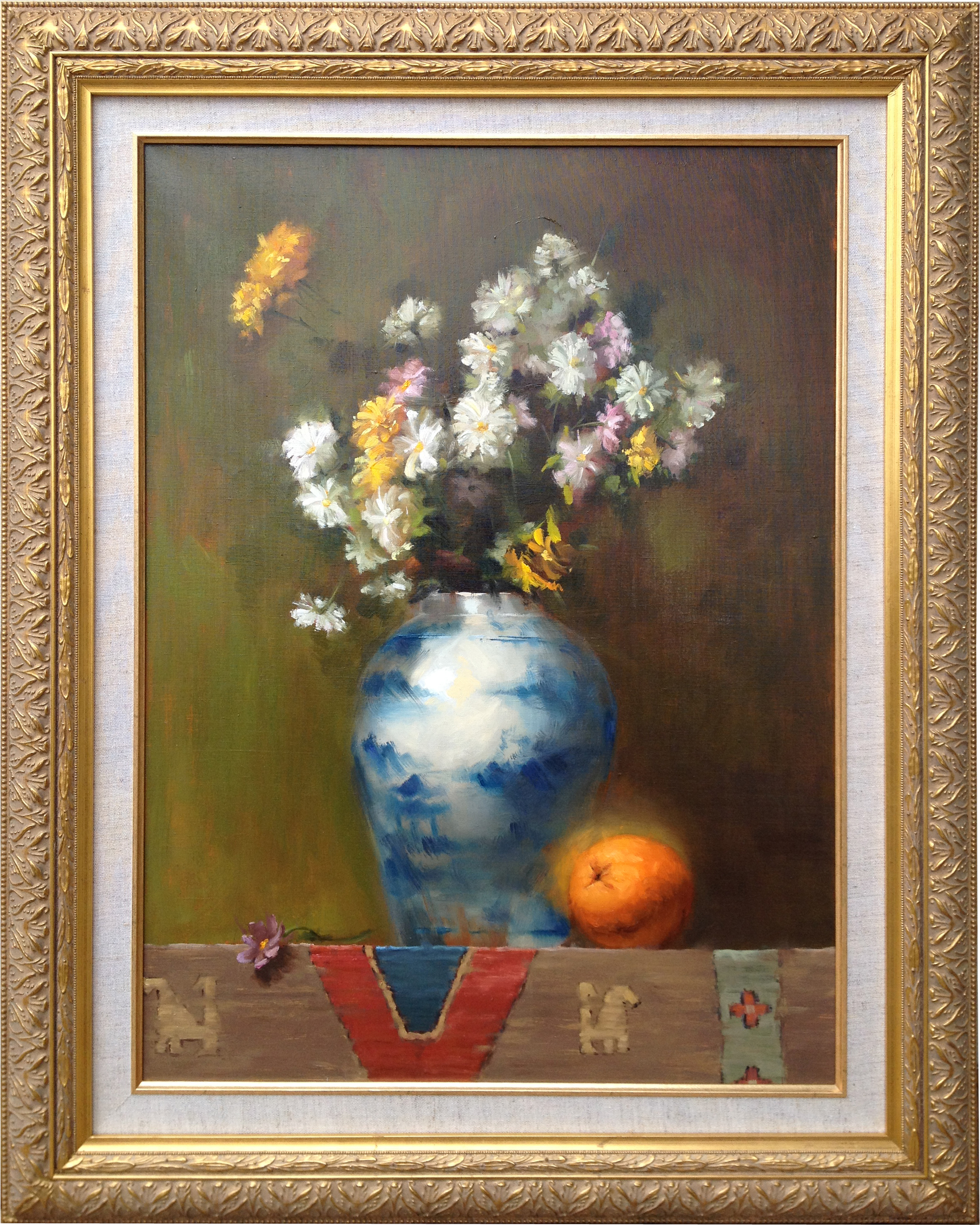 Flowers and orange 18 x 24