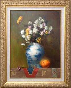 Flowers and orange 18 x 24
