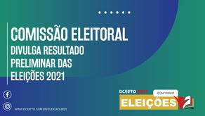 COMISSÃO ELEITORAL DIVULGA RESULTADO PRELIMINAR DAS ELEIÇÕES 2021