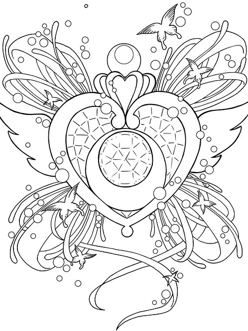Crystal Heart Colouring Page