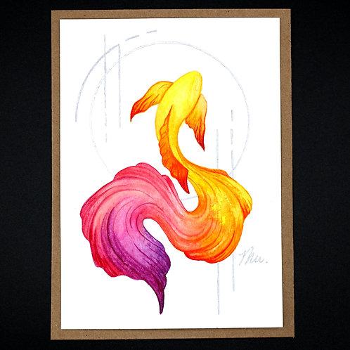Watercolor Koi - Fire
