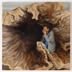 Inside a tree - Oil on wood, 50x50cm, 2019