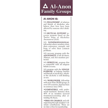 Al-Anon/Alateen Is & Is Not Bookmark