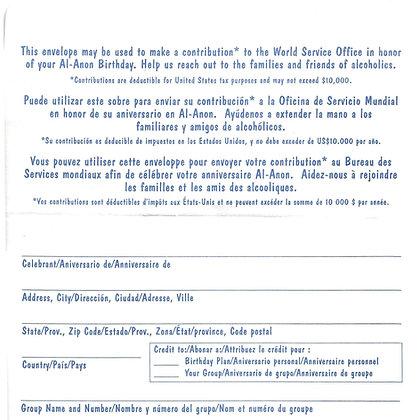Birthday Envelope English/Spanish/French
