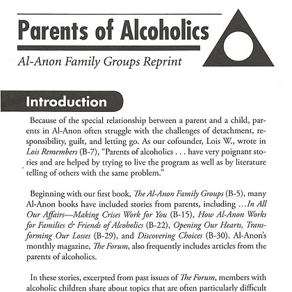 Parents of Alcoholics - Timely Reprint