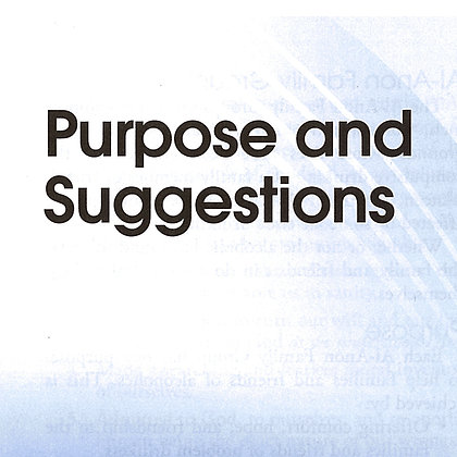 Purpose and Suggestions