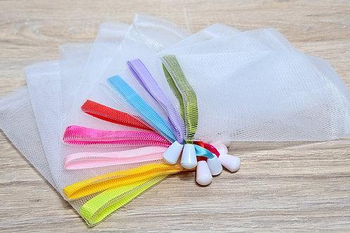 Seifensäckchen aus Stretch-Nylon - Verschlußband mit verschiedenen Farben