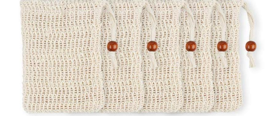 Naturfaser-Seifensäckchen aus Sisal mit Baumwoll-Verschlusskordel