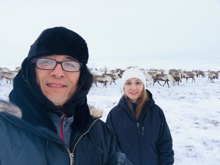 With Sisa Salgado and reindeers in Anadh