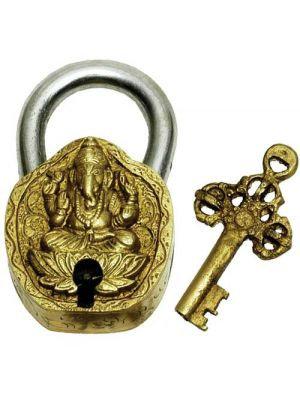 Brass Art Lock W/Key-Ganesha