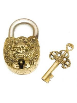 Brass Art Lock W/Key-Dragon