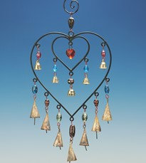 Iron Double Heart with Glass beads