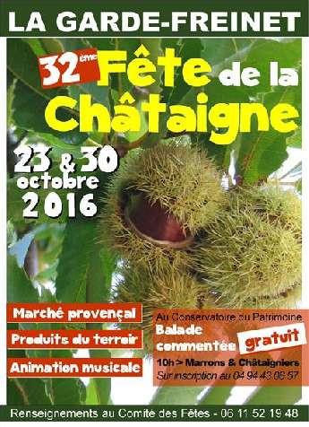 32ème Fête de la Châtaigne  Marché de produits du terroir Marrons grillés, animations musicales Balades commentées Place de la Mairie et village, 9-18h