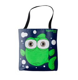 FISH (GREEN) SHOPPING BAG(NAVY)