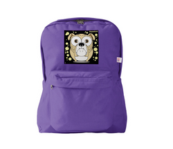 Bulldog (Light Brown) Backpack Purple