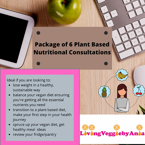 Package of 6 Plant Based Nutritional Consultation