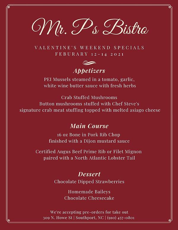 Mr. P's Bistro Valentines Specials 2021.