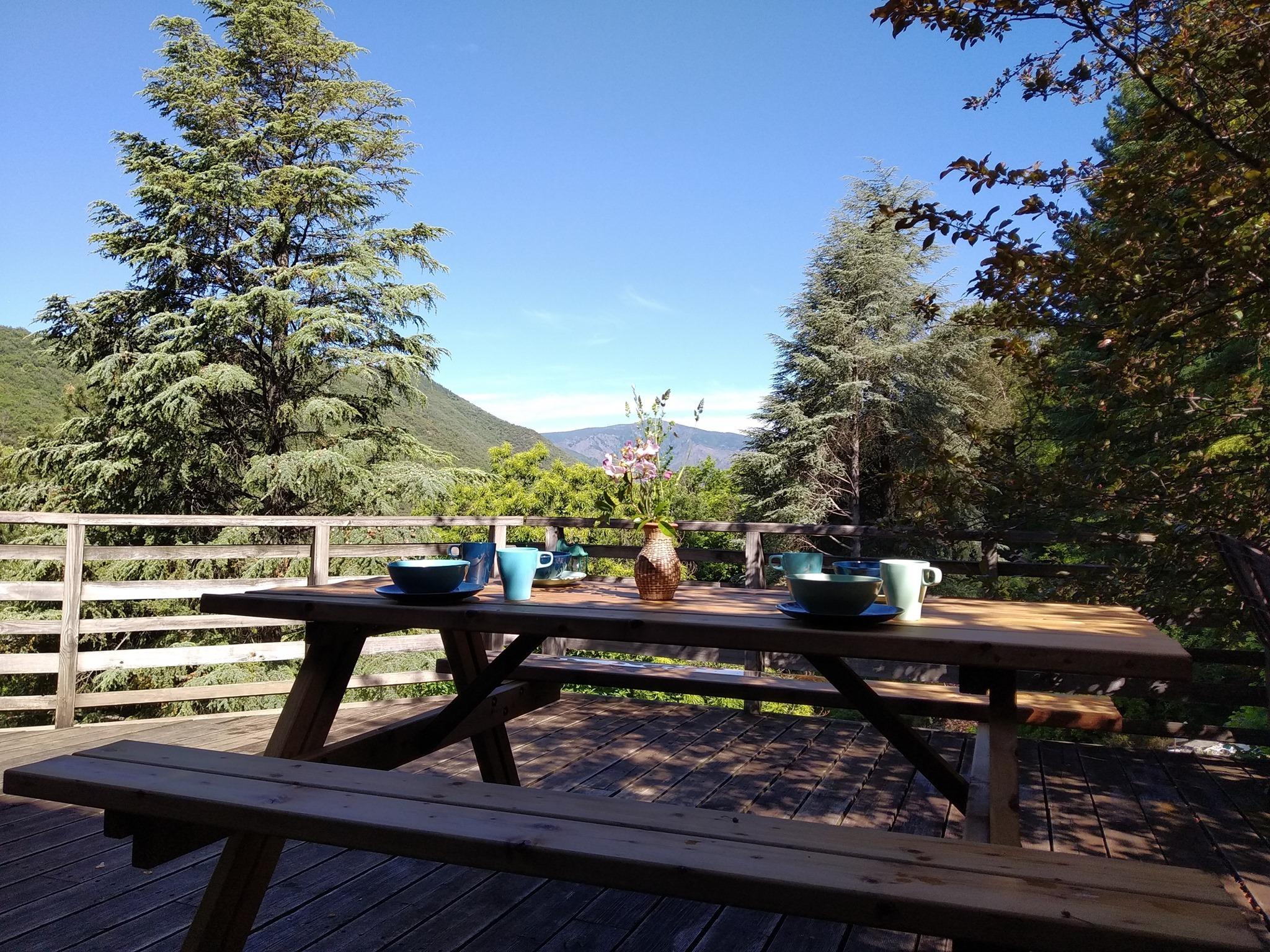 NaturoVida 30 - Petit déjeuner avec vue sur le Mont Aigoual - Chambres d'hôtes Pura Vida à Valleraug