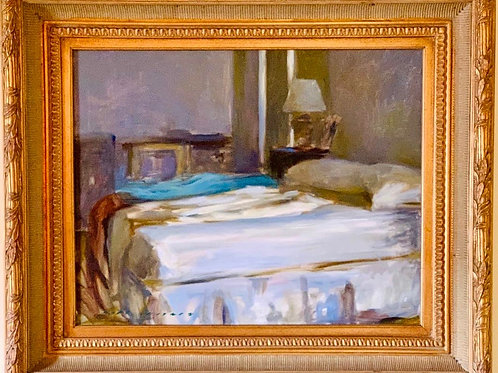 """Marc Whitney (American, 20th century) Bedroom Interior, Oil on canvas, 24"""" x 30"""""""