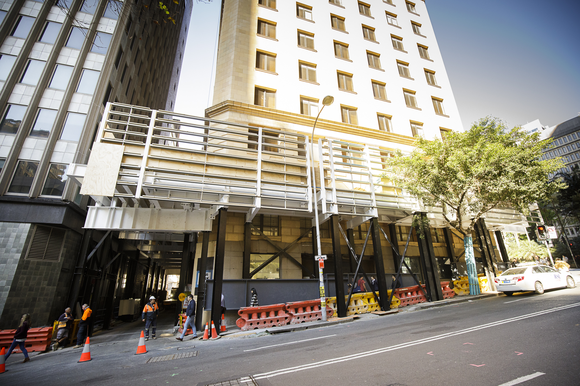 Tower - Wynyard land and marg street facade rention system base installed
