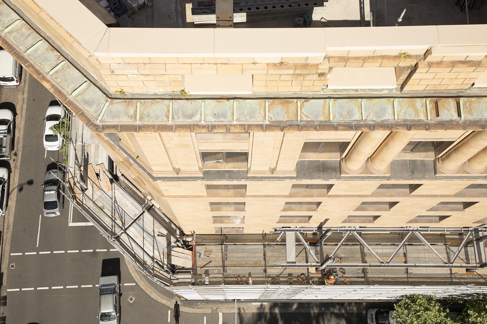 Shell House facade retention trusses