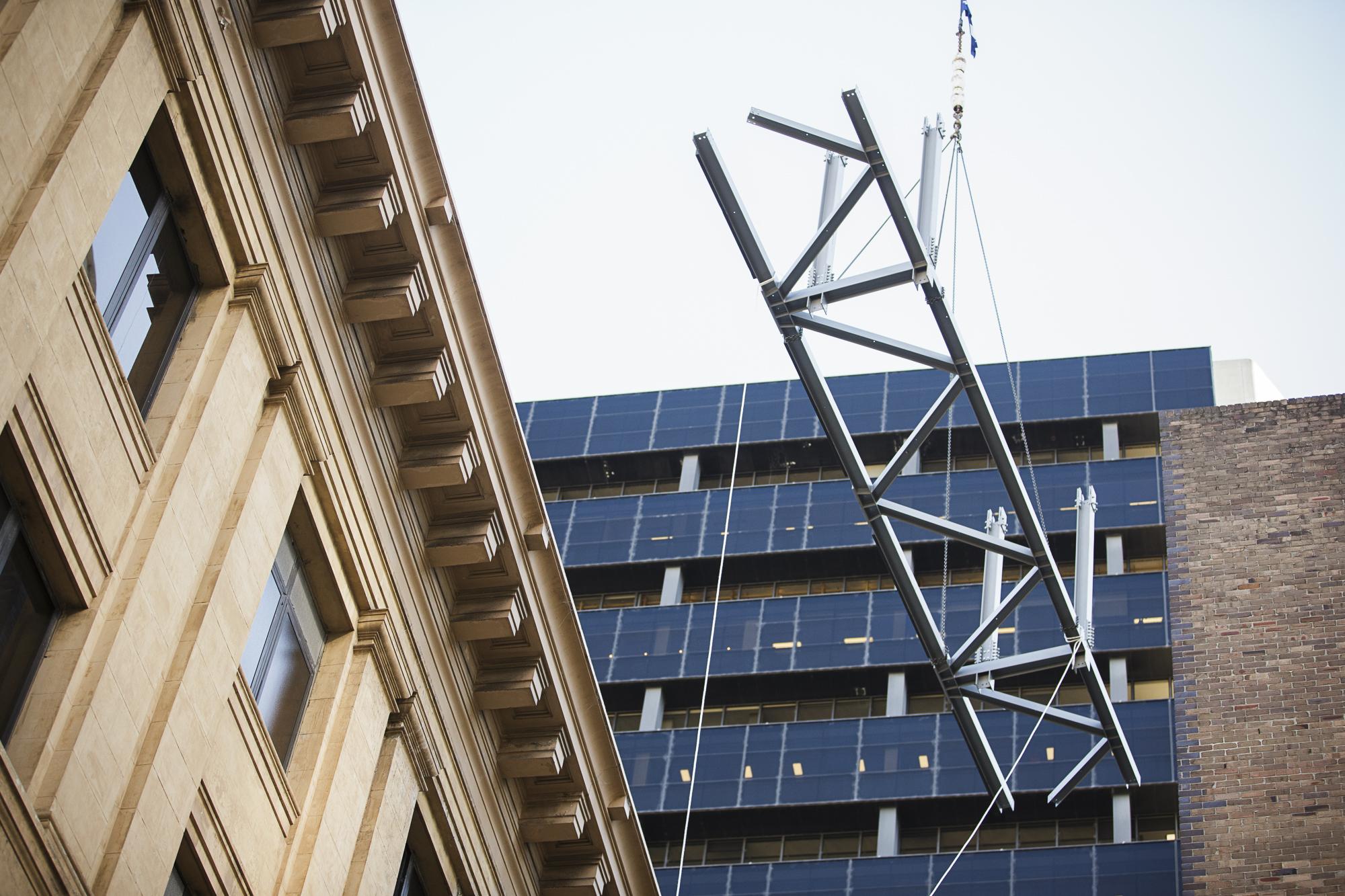 Tower - installation of Facade retention external truss