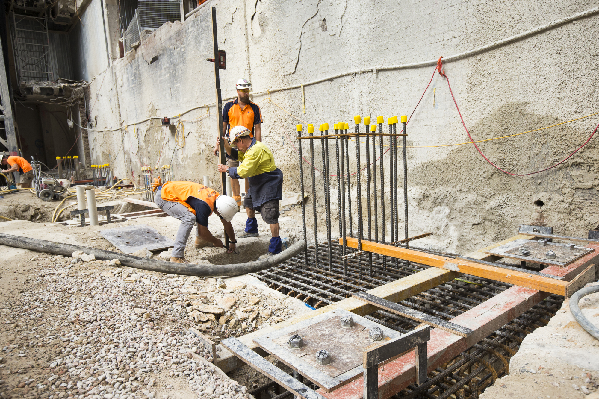 Concrete being poured into Tower footings