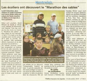 """REVUE DE PRESSE - L'Écho d'Ancenis - Montrelais - Les écoliers ont découvert le """"Marathon des Sables"""