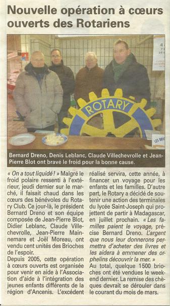 REVUE DE PRESSE - L'Echo d'Ancenis - Nouvelle opération à coeur ouvert des Rotariens