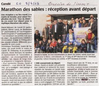 REVUE DE PRESSE - LE COURRIER DE L'OUEST - Candé - Marathon des Sables : Réception avant départ