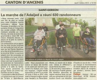 REVUE DE PRESSE - L'Echo d'Ancenis - La marche de l'Adaijed a réuni 630 randonneurs