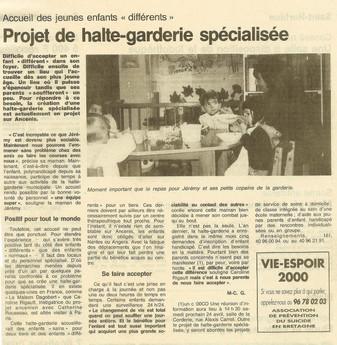 """REVUE DE PRESSE - Ouest-France - Accueil des jeunes """"différents"""" - Projet de halte-garderie spéciali"""