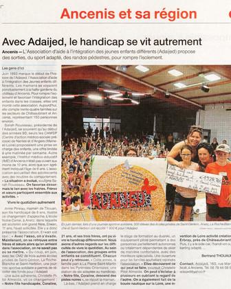 REVUE DE PRESSE - Ouest-France - Avec l'Adaijed, le handicap se vit autrement !