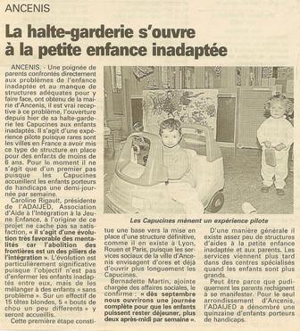 REVUE DE PRESSE - Ouest-France - La halte-garderie s'ouvre à la petite enfance inadaptée