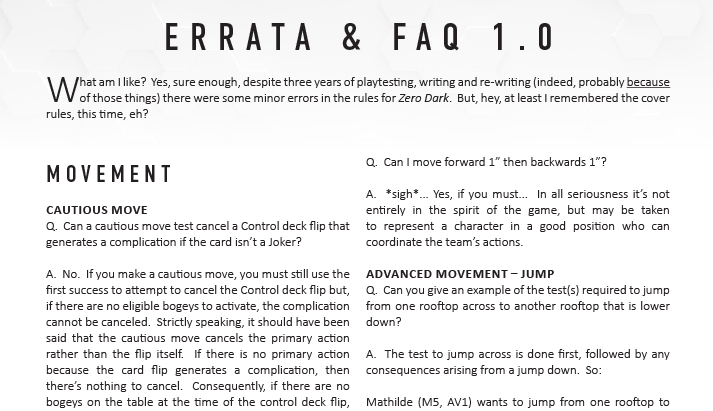 Zero Dark FAQ & Errata